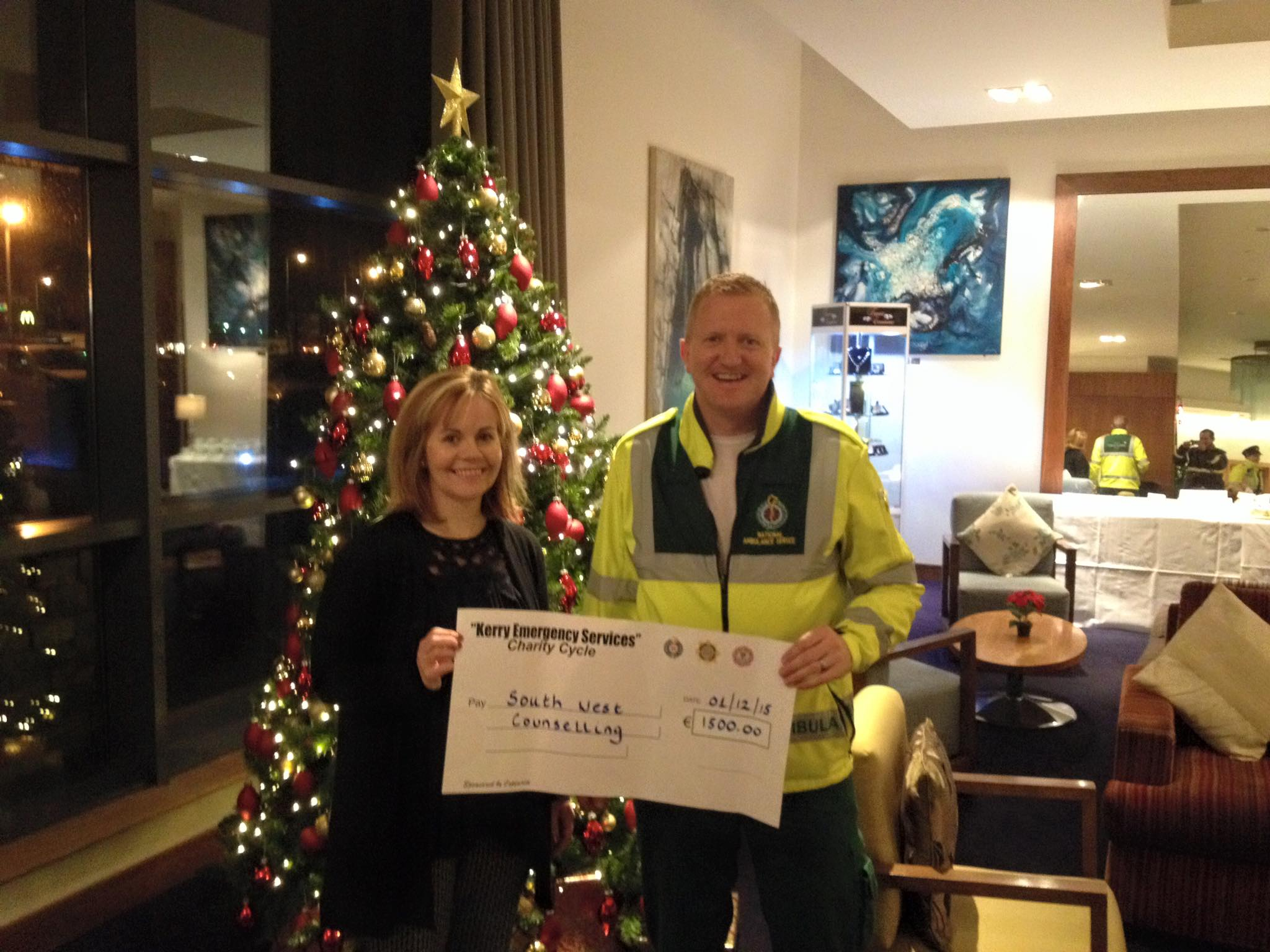 Kerry Emergency Services Cycle Cheque presentation